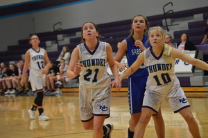 The NCMS Lady Thunder Takes on the Sabetha Bluejays