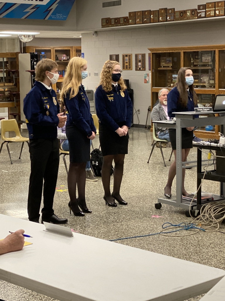NCHS FFA officers presenting to BOE