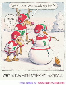 Snowman trying to kick football.