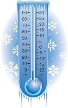 thermometer showing extreme cold