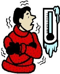 extreme cold temperatures cartoon with thermometer and man shivering