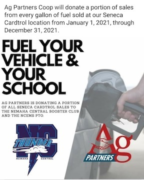 Ag Partners donate portion of fuel sales from 1/1/2021 to 12/31/2021 to NC Booster Club and NCEMS PTO