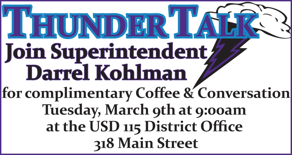 Thunder Talk March 9th 9 am District Office