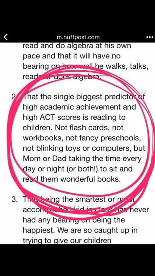 Reading to your kids is most important activity for academic achievement.
