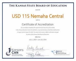 USD #115 Nemaha Central Certificate of Accreditation