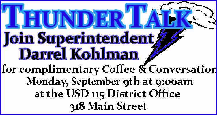 Thunder Talk Sept. 9th 9 am District Office
