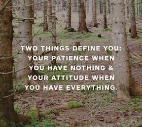 Two things define you: your patience when you have nothing & your attitude when you have everything