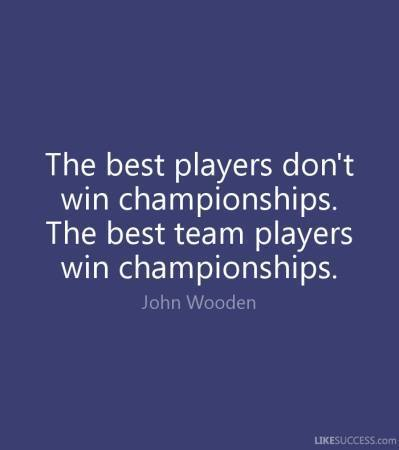 The best players don't win championships the best team players win championships. John Wooden