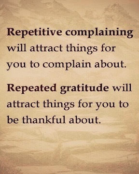 Repetitive complaining will attract things for you to complain about. Repeated gratitude will attract things for you to be thankful about.