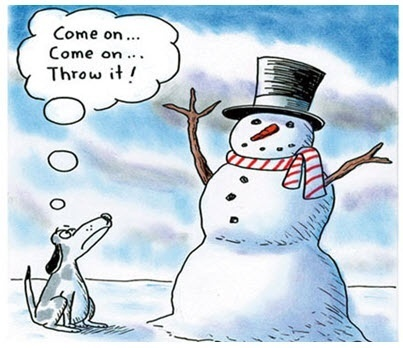 Dog asking snowman to throw it (stick arms)