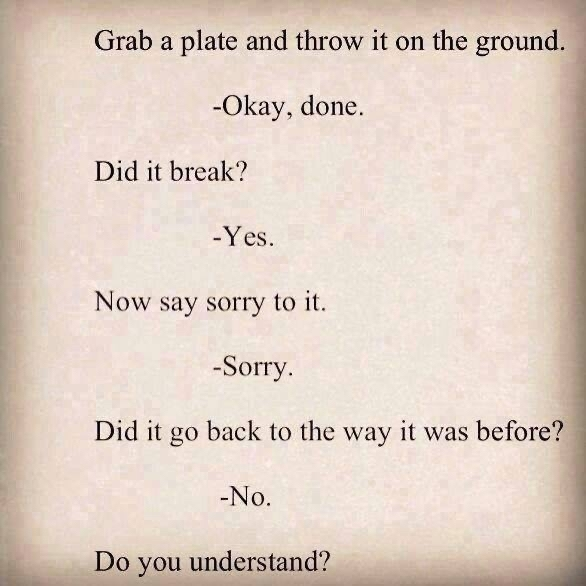Grab a plate and throw it on the ground. Okay, done. Did it break? Yes. Now say sorry to it. Sorry. Did it go back to wat it was before? No.