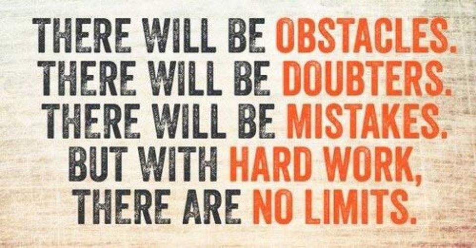 There will be obstacles There will be doubters There will be mistakes But with Hard Work There are no limit