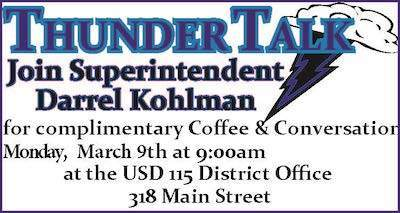 Thunder Talk March 9th at 9 am District Office