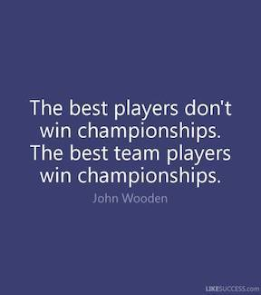 Best players don't win championships, the best team players win championships. Coach Wooden