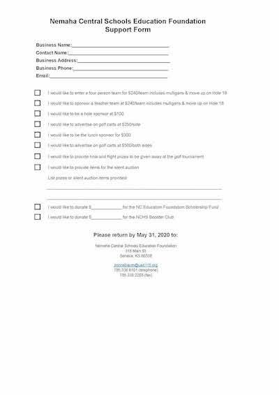 NC Ed Foundation Golf Tournament Support Form