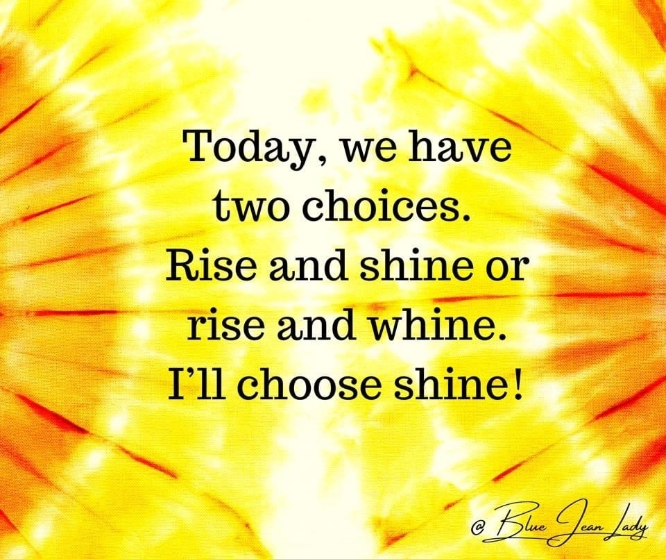 Today we have two choices. Rosa and Shine or rise and whine. I'll choose shine!