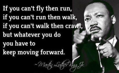 If you can't fly then run, if you can't run then walk, if you can't walk then crawls, but whatever you do you have to keep moving forward.