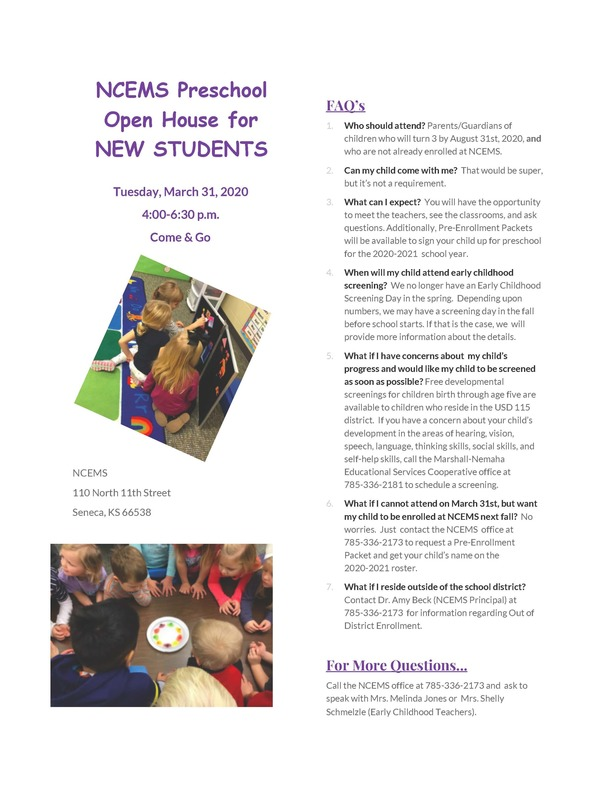 NCEMS Preschool Open House for NEW STUDENTS